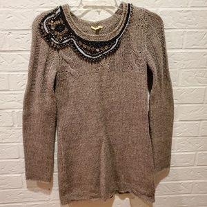 Gianni Binni brown fitted beaded sweater